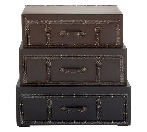 Classy Wood Leather Trunk Cabinet - Description: