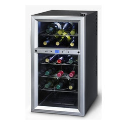 Kalorik - 18-Bottle Wine Cooler - Designed to maintain wine at the ideal temperature and humidity level, this 18-bottle wine cooler will be an excellent investment for any wine lover. Featuring a dual control that allows you to store red wines and white wines at different temperatures, the unit is highlighted by a thermoelectric cooling system that reduces vibrations, protecting your wine. 13.7 in. W x 19 in. D x 26.5 in. H (38 lbs.)