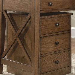 Liberty Furniture - Liberty Furniture Hearthstone Mobile File Cabinet in Rustic Oak Finish - Everyone is drawn to the past  a simpler time  a simpler way of life.  Hearthstone draws itâs inspiration from the past with a true and honest design.  With vintage appeal  Hearthstone is a casual  rustic style that never goes out of fashion. Elements of shaker and craftsman designs are combined with a rustic oak finish and accents of slate. Hearthstone home office makes the most of space & function with a casual desk & mobile file drawer.  This style will help keep you organized with ease.  The cases have casual styling with x motif end panels and bead board drawer accents.Collection Features: English Dovetail ConstructionPrecision Ball Bearing Drawer GlidesFile Drawer LocksFlip Down Keyboard TraySlide Out Trays for Printers & ScannersCase LevelersWire Management ProvisionsAntique Brass Knob Hardware