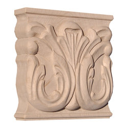"Inviting Home - Atlanta Large Capital - maple wood (CP15L/oy15) - Large capital in hard maple wood 5""W x 1-3/8""D x 5""H Wood capitals are hand carved in deep relief design from premium selected North American hardwoods such as alder beech cherry hard maple red oak and white oak. They are triple sanded and ready to accept stain or paint. Hardwood capitals are a great way to enhance any pilaster or column."