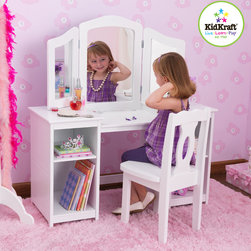 Kids Kraft - Kids Kraft Deluxe Vanity and Chair - This is Kids Kraft Deluxe Vanity and Chair. This product liked by every young girl needs her very own vanity. Kids kraft Deluxe Vanity and chair allows girls to see herselves from three different angles, and the wooden shelves are perfect for storing makeup and dress-up clothes. If your little child is very stylish and fashionable then this is one of the best product for them. With its One large mirror and two adjustable side mirrors this vanity and chair occupies Four shelves for storing makeup, clothes, toys and many more.