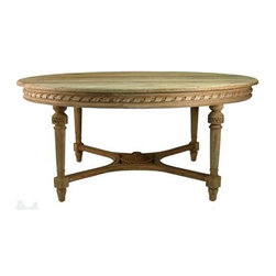 """Zentique - Huston Table by Zentique - This handsome wood dining table has a carved apron and decorative carved French legs in a light wood finish. The perfect traditional table to transition into chic clean design. (ZEN) 71"""" wide x 57"""" deep x 31.5"""" high"""