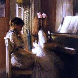 "Joseph DeCamp The Music Lesson - 18"" x 24"" Premium Archival Print - 18"" x 24"" Joseph DeCamp The Music Lesson premium archival print reproduced to meet museum quality standards. Our museum quality archival prints are produced using high-precision print technology for a more accurate reproduction printed on high quality, heavyweight matte presentation paper with fade-resistant, archival inks. Our progressive business model allows us to offer works of art to you at the best wholesale pricing, significantly less than art gallery prices, affordable to all. This line of artwork is produced with extra white border space (if you choose to have it framed, for your framer to work with to frame properly or utilize a larger mat and/or frame).  We present a comprehensive collection of exceptional art reproductions byJoseph DeCamp."