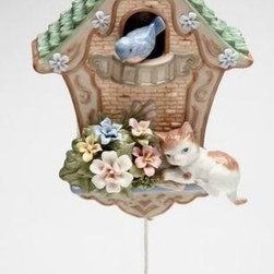 CG - Cat on Brown Bird House with Flowers and Bird Collectible Music Box - This gorgeous Cat on Brown Bird House with Flowers and Bird Collectible Music Box has the finest details and highest quality you will find anywhere! Cat on Brown Bird House with Flowers and Bird Collectible Music Box is truly remarkable.