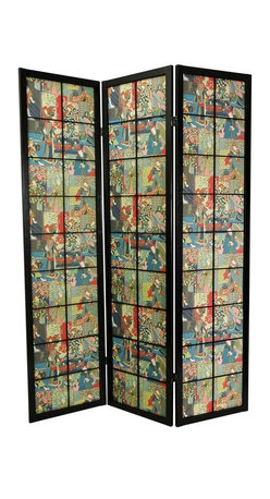 Oriental Unlimited - 6 ft. Tall Kabuki Shoji Screen in Black Finis - This enchanting piece features Kabuki actors in full costume that colorfully decorate this three paneled screen. A black frame and window pane panels accent the scene perfectly. Use this piece to provide privacy or as an artistic accent piece in your home. Screens may vary slightly in color. Edo style large pane room divider with a pattern design of colorful kabuki actors in full costume. Display as an art screen or to define space. Shade is pattern dyed fabric stretched tight. Allows very little light and provides privacy. 3 Panels. Crafted from durable and lightweight Scandinavian Spruce. Panels are constructed using Asian style mortise and tenon joinery. Lacquered brass, 2-way hinges mean you can bend the panels in either direction. Black finish. Assembly required. Each panel: approximately 17.5 in. L x 0.75 in. W x 72 in. H. 3 Panel screen: approximately 53 in. wide flat, approximately 45 in. wide slightly folded to stand upright (as shown)