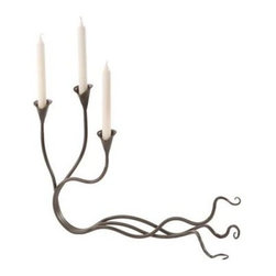 Windswept Iron Candelabra - 23.5L x 16H in. - The free-flowing design of the Windswept Iron Candelabra - 23.5L x 16H in. combines natural elegance with the beauty of well-crafted iron. Its solid hand-forged iron construction is durable and provides you with a long-lasting work of art to be forever cherished and passed down from generation to generation. Made in America you can rest assured you're receiving a product that is constructed by the finest craftsmen in their trade. About Stone County IronworksStone County Ironworks is America's Blacksmith Shop using traditional hand-forging techniques to create iron furniture and accessories one at a time. Quality workmanship that reflects the skill of the blacksmith continues to set Stone Country Ironworks apart from other manufacturers.