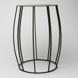 Juno Convex Garden Stool - A sleek, metal drum shape makes this one easy on the eyes. Great for a stool or side table.