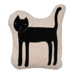 k studio - Cat Pillow, Natural - Designed by Shelly Klein Materials: Natural organic cotton with black applique and off white stitch. 90/10 feather/down insert. Made in the USA. Dry clean only.