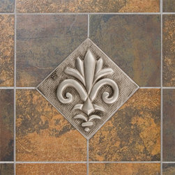 "4"" Aluminum Wall Tile with Fleur de Lis Design - Offered with an optional tile frame, this aluminum wall tile features a charming fleur de lis design that will add style and sophistication to your kitchen or bath."