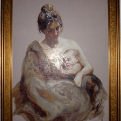 Artist Signed And Numbered  Painting Mother And Child Framed - Our Store ARTIST SALE!!