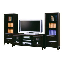 "Coaster - 59"" TV Console (Cappuccino) By Coaster - Description: Great media TV stand with space for everything you need and a wonderful media tower with drawers. This design is crafted with maple veneer and solid wood in a cappuccino finish. Dimensions: TV Console: 20.00""W x 59.00""D x 23.00"" Height TV Console: 20.00""W x 47.00""D x 23.00"" Height Media Tower: 14.00""W x 23.00"" 14.00""D x 60.00""H"