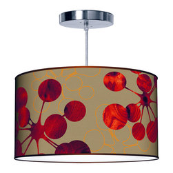 "jefdesigns - Bubble 2 Pendant Lamp - 36""x12"" - With a rich color palate of red and gold, this gorgeous pendant lamp is sure to warm your home and your heart. Its linen shade features woodgrain accents and a printed linen drum shade, available in five sizes."