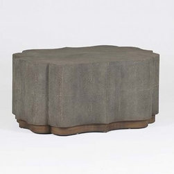 Furniture Sale... - This coffee table features a dark faux shagreen that covers a shield shaped frame on an oak base. An excellent example of transitional living room furniture.