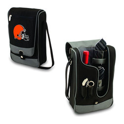 """Picnic Time - Cleveland Browns Barossa Wine Tote in Black - The Barossa is so sleek and sophisticated, you'll want to take it with you every chance you get. It's made of 600D polyester and features an adjustable shoulder strap that makes it easy to carry and a flat zippered pocket on the exterior flap. The Barossa is fully insulated to keep your wine the perfect temperature and has a divided interior compartment to separate your bottle of wine from the 2 (8 oz.) acrylic wine glasses included. Also included are: 1 stainless steel waiter style corkscrew, 1 bottle stopper (nickel-plated), and 2 napkins (100% cotton, 14 x 14"""", Black with silver pinstripe). The Barossa wine tote is perfect for picnics, concerts, or travel and makes a wonderful gift for those who enjoy wine.; Decoration: Digital Print; Includes: 6 stainless steel waiter style corkscrew, 1 bottle stopper (nickel-plated), and 2 napkins (100% cotton, 14 x 14"""", Black with silver pinstripe)"""