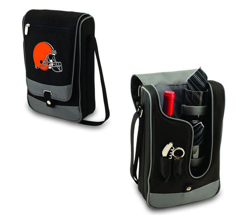 "Picnic Time - Cleveland Browns Barossa Wine Tote in Black - The Barossa is so sleek and sophisticated, you'll want to take it with you every chance you get. It's made of 600D polyester and features an adjustable shoulder strap that makes it easy to carry and a flat zippered pocket on the exterior flap. The Barossa is fully insulated to keep your wine the perfect temperature and has a divided interior compartment to separate your bottle of wine from the 2 (8 oz.) acrylic wine glasses included. Also included are: 1 stainless steel waiter style corkscrew, 1 bottle stopper (nickel-plated), and 2 napkins (100% cotton, 14 x 14"", Black with silver pinstripe). The Barossa wine tote is perfect for picnics, concerts, or travel and makes a wonderful gift for those who enjoy wine.; Decoration: Digital Print; Includes: 6 stainless steel waiter style corkscrew, 1 bottle stopper (nickel-plated), and 2 napkins (100% cotton, 14 x 14"", Black with silver pinstripe)"