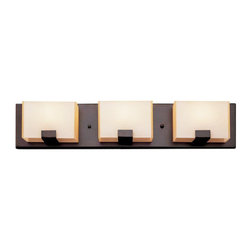 Rubbed Oil Bronze And Acrylic Cube 3 Light Halogen Bath Wall - Condition: New - in box