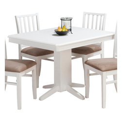 Jofran - Jofran Aspen Rectangle Pedestal Dining Table in White - Painted engineered wood, solid Asian hardwood. Aspen white finish.
