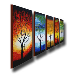 "Fabuart - ""Color Forest"" - Modern Tree Canvas Art - 5 Elements - 60 x 28in - This beautiful Art is 100% hand-painted on canvas by one of our professional artists. Our experienced artists start with a blank canvas and paint each and every brushstroke by hand."