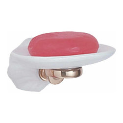 """Renovators Supply - Soap Dishes White Porcelain/Brass Soap Dish - Tarnish free soap dish with Renovator's Supply finished (RSF) brass trim, this soapdish has a beautiful ribbed design in fine white porcelain for a sharp new look. It projects 1 3/4"""" from the wall."""