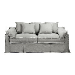 Kathy Kuo Home - Kelvin Stonewash Canvas Fog Cottage Style 3 Seat Sofa - This cozy sofa doesn't stand on ceremony - it invites you to sink into its pile of soft pillows, upholstered in beautiful fog colored denim - and let the day go. The shabby chic pillow edging and soft canvas fabric mean this isn't just a show piece that brings your cottage decor or rustic loft to life, but a truly useable sofa for everyday living (and napping).