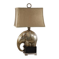 """Uttermost - Uttermost Abayomi Lamp 12 x 17 x 31.5"""", Champagne - Antiqued champagne finish over crackled porcelain with an aged black base and brushed aluminum accents. The rectangle semi bell shade is a silken golden champagne textile.Designer: Carolyn KinderWattage: 150WDimensions: 12"""" depth by 17"""" width by 31.5"""" heightMaterial: metal/porcelain"""
