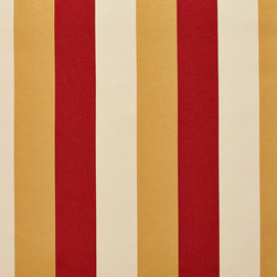 Gold, Ivory And Crimson Thick Tri-Color Stripes Upholstery Fabric By The Yard - This upholstery fabric feels and looks like silk, but is more durable and easier to maintain. This fabric will look great when used for upholstery, window treatments or bedding. This material is sure to standout in any space!
