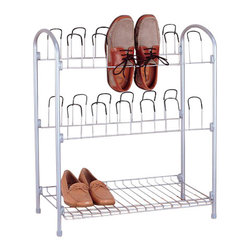 Organize It All - Shoe Rack with Shelf - With our handy shoe rack, you can keep your footwear organized and floor free of clutter. It can accommodate up 12 pairs of shoe on coated friction hooks that keep your shoes securely in place while preserving their shape. The hooks also allow for efficient ventilation to ensure that your shoes stay fresh. A bottom shelf provides additional storage for flip flops, strappy sandals and wider shoes. Also, in addition to being durable, this rack's stylish chrome construction presents an elegant look.