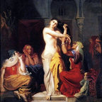 """Theodore Chasseriau Moorish Woman Leaving the Bath Print - 16"""" x 20"""" Theodore Chasseriau Moorish Woman Leaving the Bath in the Seraglio premium archival print reproduced to meet museum quality standards. Our museum quality archival prints are produced using high-precision print technology for a more accurate reproduction printed on high quality, heavyweight matte presentation paper with fade-resistant, archival inks. Our progressive business model allows us to offer works of art to you at the best wholesale pricing, significantly less than art gallery prices, affordable to all. This line of artwork is produced with extra white border space (if you choose to have it framed, for your framer to work with to frame properly or utilize a larger mat and/or frame).  We present a comprehensive collection of exceptional art reproductions byTheodore Chasseriau."""
