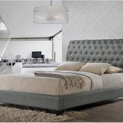 Baxton Studio - Jazmin Tufted Gray Modern Bed with Upholstered Headboard - Our Jazmin Designer Bed shines with fabulous features: a scroll back queen-sized headboard,button tufting,and silver nail head trim.  Gray linen-like fabric upholsters a wooden frame with foam padding.