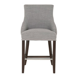 """Orient Express Furniture - Avenue Counter Stool, Smoke - This comfortable 26"""" counter stool features a button-tufted back and small polished nail trim."""