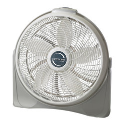 "Lasko - 20"" Cyclone Pivot Fan 3-Speeds - The Lasko 3520 20 In. Diameter Cyclone Pivot Fan is a great choice for an all-purpose floor fan. This fan is a great addition to your air conditioning or can be directed at you for immediate heat relief. Three Whisper-Quiet high-Performance speeds, aerodynamic fan blades and a special swirling grill design combine for power and performance matched only by a cyclone itself! The adjustable Fan-Head rotates up to 90 degrees and then locks into place for precision comfort. This fully assembled fan is portable and easy to use with controls located on top of its Easy-Carry handle.20 in. aerodynamic blade and swirling grill design combine for power and performance."