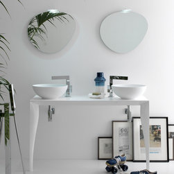 Azzurra - Azzurra | Azzurra Marilyn 03 Console - Made in Italy by Azzurra.A part of the Marilyn Collection. The Azzurra Marilyn 03 Console makes sharing a bath space both enjoyable and aesthetically appealing. With two circular vessel sinks placed above a spacious countertop, this sink console set implements a harmonious, organic theme through the addition of a stone-shaped wall-hung mirror for each washbasin. Allow the natural fluid shapes to effortlessly upgrade your luxury bathroom. Product Features: