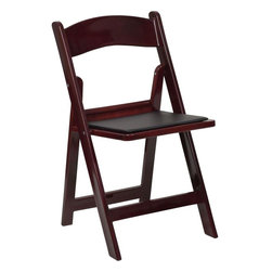 "Flash Furniture - Hercules Series Red Mahogany Resin Folding Chair with Vinyl Padded Seat - This HERCULES Series Folding Chair features a 1000 lb. weight capacity so that you can be assured that it will accommodate any function. From indoor or outdoor weddings to other upscale events, this resin folding chair will never let you down. Featuring a padded vinyl seat, our mahogany folding chair will provide an excellent solution to all your event planning needs.; Resin Folding Chair; 1000 lb. Weight Capacity; Lightweight Design; Black Vinyl Padded Upholstered Seat; Black Vinyl Padded Upholstered Seat; Waterproof Detachable Seat; Premium Mahogany Resin Construction; Injection Molded with UV Stabilized Polypropylene Resin; Anti-Static; Aluminum Hardware; Easily Stored, Folds Flat at 2.75""; Designed for Indoor and Outdoor Use; CA117 Fire Retardant Foam; Weight: 10 lbs; Overall Dimensions: 17.5""W x 18""D x 30.75""H"