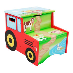 Fantasy Fields - Fantasy Fields Happy Farm Step Stool with Storage Multicolor - TD-11330A - Shop for Childrens Stools from Hayneedle.com! Your kids will step up and pitch in on the farm with this Teamson Design Happy Farm Step Stool with Storage. This step stool not only gives little ones two steps up it also has storage inside. Handy! Perfect for brushing their teeth helping in the kitchen or getting a boost into or out of bed. This storage step stool is made of eco-friendly sturdy wood and hand-painted with lead-free paints. It has the look of a red tractor on the sides and a scenic mural of the farm on the step stool.About Teamson DesignBased in Edgewood N.Y. Teamson Design Corporation is a wholesale gift and furniture company that specializes in handmade and hand-painted kid-themed furniture collections and occasional home accents. In business since 1997 Teamson continues to inspire homes with creative and colorful furniture.