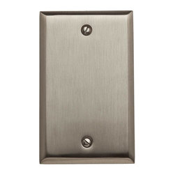 Baldwin Hardware - Beveled Edge Single Box Cover Wall Plate in Satin Nickel (4750.150.CD) - Feel the difference - Baldwin hardware is solid throughout, with a 60 year legacy of superior style and quality. Baldwin is the choice for an elegant and secure presence. Baldwin guarantees the beauty of our finishes and the performance of our craftsmanship for as long as you own your home.