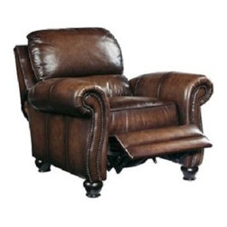 Saddleworks - Portman Recliner - 1 attached bustle back pillow, 20 width between arms; sinuous spring coil construction; Chair mechanism is a 3-stage press back mechanism; only available in leather/finish shown.