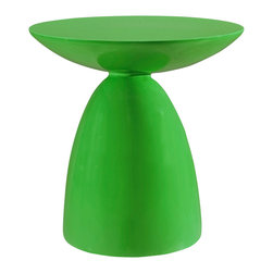 LexMod - Flow Side Table in Green - Reaching upward in exuberance to welcome each moment, Flow is the perfect side table to maximize your rush of ideas. A complete accent piece for your beverage of choice or electronic device, Flow can be swiftly positioned for both spotaneous and planned events. Made of sturdy fiberglass and a compact design, this is a unique side table that will fit into any niche with finesse.