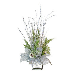 TableCenterpieces.net - Silver Silk Floral Arrangement - Luxurious silver floral arrangement features snowy cedar evergreen branches, iced birch branches, silver ornaments, and shimmering leave accents that create a festive display of green and silver all held within a squared mirror planter.  Would make a great addition to a dining table, entryway, sideboard or mantle.