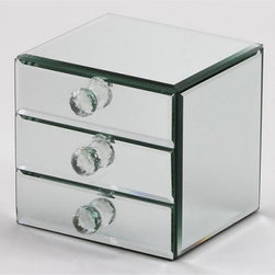 Juna Mirrored 3 Drawer Jewelry Box - 5W x 5.75H in. - A reflection of your good taste, the Juna Mirrored 3 Drawer Jewelry Box - 5W x 5.75H in. by Creative Gifts International has plenty of room to organize your jewelry. Features three beveled mirror drawers with crystal pulls to hold your keepsakes. The interiors are finished in flocked black cloth. Comes in a white gift box.