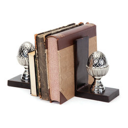 Go Home - Finial Bookends - Finial Bookend is simple but mirthful in style. these bookends hold up your book collection. Made withBrass Finial and polished with nickel.Sold as set of 4.