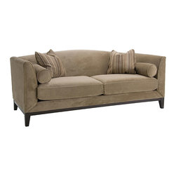 None - Portofino Camel Fabric Velvet Sofa - Portofino camel fabric velvet sofa will add sophistication to your home decorFashionable furniture features a sturdy cherry hardwood base frameSofa also comes with two throw pillows and two bolster pillows