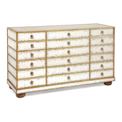 Kathy Kuo Home - Vienna Hollywood Regency Silver Leaf Mirror Gold 12 Drawer Dresser - Sometimes more is more.  Especially when it comes to silver leaf Eglomise mirror and gold accents on Deco-inspired 12 drawer chests like this one. Giving more storage, beauty and light to wherever it sits, this is an understandably covetable piece.