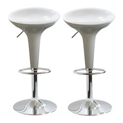 Buffalo Tools - AmeriHome 2 Piece Bar Stool Set - White - 2 Piece Bar Stool Set - White by AmeriHome Add a bit of whimsy to your kitchen, bar, game room, basement, or shop with the AmeriHome Bar Stool Set in glossy white. A sleek and fun silhouette with a polished mirror-like chrome base and a shiny white molded seat give them an ultramodern look.  These bar stools are designed with comfort in mind. With large 14.75 inch molded ABS plastic 360 degree swivel seats, built in footrest, 3 inch backrest, and an adjustable seat height of 22 to 30 inches. Great features that make these bar stools comfortable for everyone.  Includes 2 white adjustable height bar stools Adjustable seat height from 22 to 30 in. Maximum seat back height of 33 in. 14.75 in. ABS plastic 360 degree swivel seat 330 lbs. weight capacity each