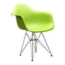 "Modway - Paris Dining Armchair in Green - Wire Paris Armchairs are crafted out of molded plastic for the seat and a chromed steel wire ""pyramid"" base. Comfortable and versatile, this chair can be used to decorate any space."