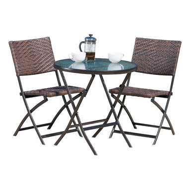 Great Deal Furniture - Cantinela 3pc Outdoor Wicker Folding Bistro Set - The Cantinela 3-piece folding bistro set is ideal for any outdoor space. The pattern on the chairs adds eye catching detail, while the table remains simple for functionality. All three pieces fold flat, making the set easy to store and transport without compromising its sleek lines and visual appeal.