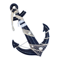"Handcrafted Model Ships - Wooden Rustic Blue Anchor with Hook Rope and Shells 24"" - Nautical Decor - An icon of sailing past and present, the nautical anchor is both a necessary piece of equipment aboard a ship as well as a talisman of good luck for all sailors who step aboard. This delightful Wooden Rustic Blue Anchor with Hook Rope and Shells 24"" carries with it that same enchanting feel, bringing the wonder and magic of the sea into your home or office. No matter where you choose to place one of these fabulous anchors, enjoy its chic nautical style, historic significance, and symbolic wonder each and every day. Handcrafted nautical decor has made it very easy to hang this anchor to your wall by including the necessary parts and pieces for your convenience."