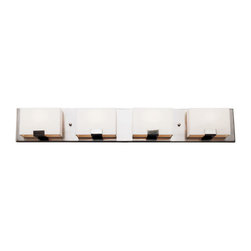 Brushed Nickel And Acrylic Cube 4 Light Halogen Bath Wall - Condition: New - in box