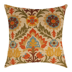 Land of Pillows - Waverly Santa Maria Adobe Damask Style Floral Decorative Throw Pillow, 18x18 - Fabric Designer - Waverly