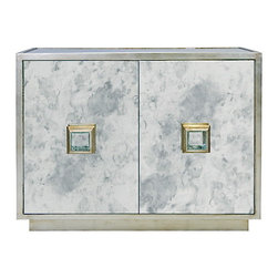 Worlds Away - Worlds Away Winslow Silver leaf and Antique Mirror Cabinet - Picture yourself in a Lana Turner and Cary Grant flick when you open the champagne doors of this elegant Hollywood Regency style cabinet. This silver leafed cabinet has antique mirror accents, to ensure the most gleaming, glamourous look for your dining room or bar area.
