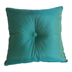 Garden Candy - Button Pillow, Blue - Garden Candy's Cinched Button Square Pillow is 100% silk. Its reversible design uses the same color with both raw and smooth textures giving you optimum luxury and versatility.  This pillow features detailed piping around the outer edges as well as a center button to complete the style.  It is the perfect accent for our Silk Seat Cushions and Silk Large Square Pillows.